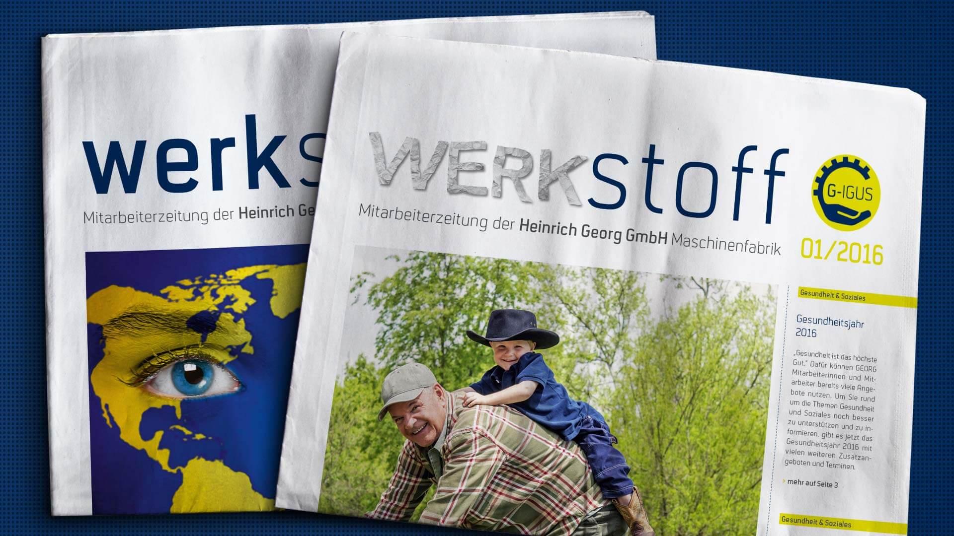 """Referenz: Georg Maschinenfabrik Mitarbeiterzeitschrift """"werkstoff"""" 01/2016"""